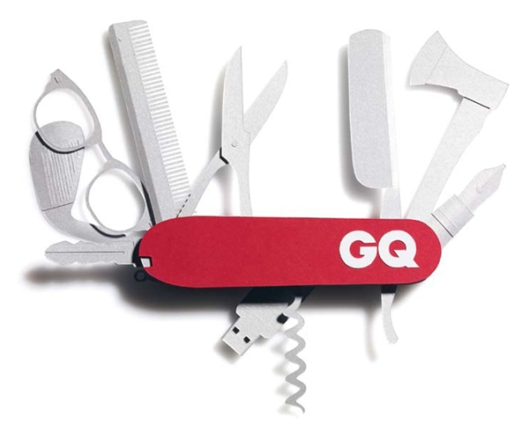 Pocket knife paper sculpture by Benja Harney for GQ Magazine