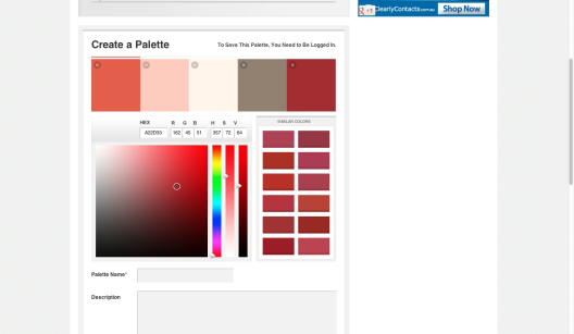 Colour Lovers - Creating your own colour palette