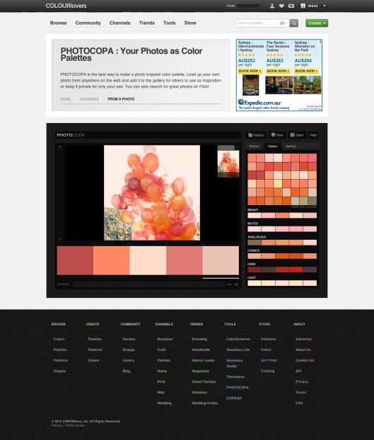 Colour Lovers - creating a palette from an image