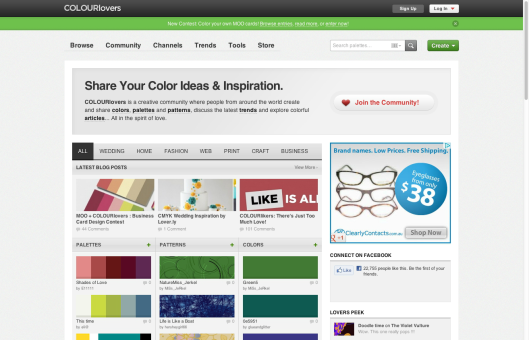 Colour Lovers home page
